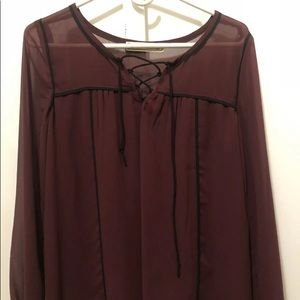 Abercrombie & Fitch Burgundy Peasant Blouse